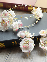 Tulle Chiffon Lace Fabric Silk Net Alloy Headpiece-Wedding Special Occasion Birthday Party/ Evening Headbands Flowers Hair Clip 3 Pieces
