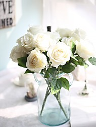 cheap -18inch Large Size 5 Heads Silk Polyester Roses Tabletop Flower Artificial Flowers