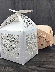 cheap -50pcs Flower Lace and Butterfly Wedding Favor Box