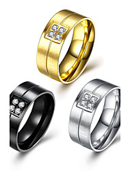 preiswerte -Herrn Damen Ring Strass Gold Schwarz Silber Edelstahl Kreisform Kreisförmiges Party Büro / Geschäftlich Alltag Modeschmuck