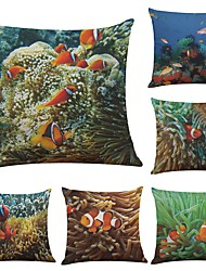 cheap -Set of 6 Tropical Sea Clownfish Linen Cushion Cover Home Office Sofa Square Pillow Case Decorative Cushion Covers Pillowcases (18*18Inch)