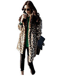 Women's Casual/Daily Simple Fall Winter Fur Coat,Leopard Peter Pan Collar Long Sleeve Long Cotton
