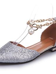 cheap -Women's Slippers & Flip-Flops Summer Comfort PU Casual Chunky Heel  Black White Walking