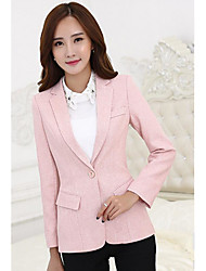 cheap -Women's Work Simple Casual Cotton Blazer-Solid Colored Peter Pan Collar / Spring / Fall