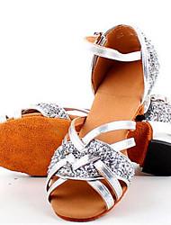 Kids' Latin Leather Sandal Practice Flat Heel Gold Silver Purple