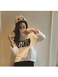 Women's Plus Size Casual/Daily Simple Sweatshirt Letter Round Neck Micro-elastic Cotton Long Sleeve Winter