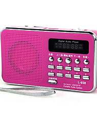 abordables -L-938 FM Radio portatil Reproductor MP3 Tarjeta TFWorld ReceiverBlanco Negro Rojo Azul Rosa