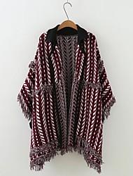 Standard Cardigan Da donna-Per uscire Casual Semplice Romantico Monocolore A cappuccio Mezza manica Rayon Autunno Inverno Medio spessore