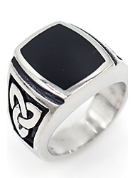 cheap -Men's Hypoallergenic Stainless Steel Band Ring - Square Basic Hypoallergenic Matt gray Ring For Party Gift