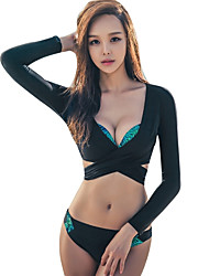 Women's Soft Close Body Elastane Diving Suit Long Sleeves Swimwear-Swimming Beach Summer Solid Floral