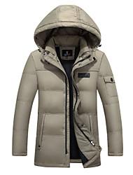 Manteau Doudoune Homme simple Décontracté / Quotidien Couleur Pleine-Acrylique Duvet de Canard Blanc Manches Longues