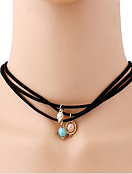MISSING U Women's Choker Necklaces Lariat Y Necklaces Leather Turquoise Bohemian Simple Style Jewelry For Gift Daily Casual