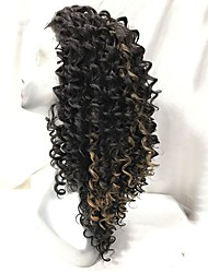 cheap -Women Synthetic Wigs Lace Front Long Kinky Curly Brown African American Wig Natural Wig Costume Wig