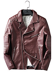 Deri Ceketler Standardní Větší velikosti Pánské Vintage Zima Denní Košilový límec Jednobarevné Umělá kůže