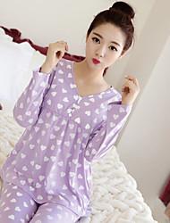 economico -moda da pigiama in cotone da donna. puro cotone allentato. vestito a due pezzi. pigiama