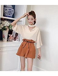 Women's Going out Casual/Daily Simple Active Summer Blouse Pant Suits,Solid V Neck Half Sleeves Chiffon Inelastic