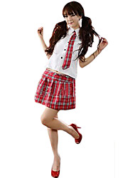cheap -Student / School Uniform Cosplay Costume Women's Halloween Carnival Festival / Holiday Halloween Costumes Beige Red Blue Plaid School