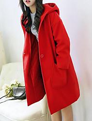 Недорогие -Для женщин На каждый день Зима Пальто Капюшон,Простой Однотонный Длинная Длинный рукав,Шерсть Другое
