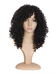 cheap -Synthetic Hair Wigs Curly African American Wig Heat Resistant Natural Wigs Long Dark Black