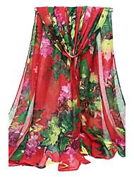 Women's Voile Fashion Cute Leaves Print Fall Winter Scarf 180*90CM