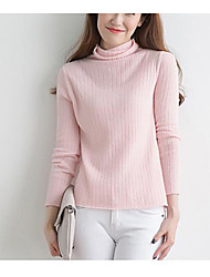 Women's Going out Casual/Daily Vintage Simple Cute Short Pullover,Solid Geometric Print Turtleneck Long Sleeves Wool Cotton Polyester