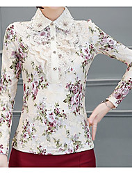 cheap -Women's Daily Casual Blouse,Floral Print Stand Long Sleeves Others