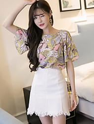 preiswerte -Damen Blatt Einfach Lässig/Alltäglich Bluse Rock Anzüge,Rundhalsausschnitt Herbst Kurzarm