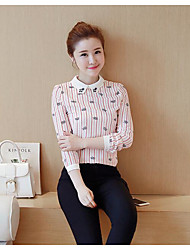 cheap -Women's Daily Casual Summer Blouse,Striped Shirt Collar Long Sleeves Polyester