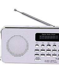 T-2050 Radio portatil Reproductor MP3 Tarjeta TFWorld ReceiverBlanco Azul