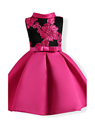Girl's Floral Patchwork Dress,Cotton Polyester Summer Short Sleeve Floral Fuchsia