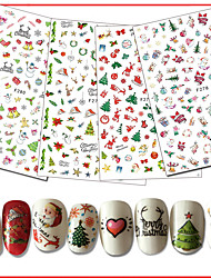 cheap -10pcs/set Nail Decals / Christmas Christmas Ornaments / Nail Sticker Nail Art Design