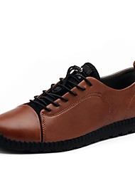cheap -Men's Oxfords Driving Shoes Comfort Light Soles Real Leather Oxford PU Cowhide Leather Fall Winter Casual Office & Career Lace-upFlat