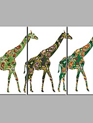 Cruising Giraffe 3 Panels Hand-painted Oil Paintings on Canvas Modern Artwork Wall Art for Room Decoration 20x28inchx3