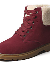 cheap -Women's Shoes Suede Winter Fall Cowboy / Western Boots Snow Boots Boots Flat Heel Booties/Ankle Boots Lace-up for Casual Office & Career