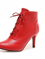 Women's Shoes Leatherette Fall Winter Comfort Novelty Fashion Boots Boots Kitten Heel Pointed Toe Booties/Ankle Boots Lace-up For Casual