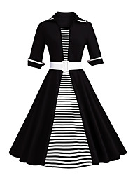 Women's Party Plus Size Vintage Sheath Dress,Striped Color Block Shirt Collar Knee-length Half Sleeves Cotton Polyester Spring Fall High