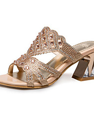 Недорогие -Жен. Обувь Искусственное волокно Лето Осень Удобная обувь Оригинальная обувь Босоножки Сандалии На толстом каблуке Открытый мыс Кристаллы