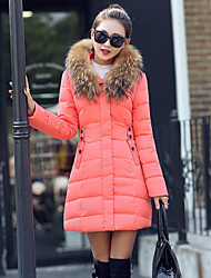 Women's Regular Padded Coat,Sophisticated Going out Solid-Polyester Polypropylene Long Sleeves
