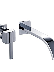 cheap -Modern/Contemporary Wall Mounted Wall Mount Ceramic Valve One Hole Chrome, Bathroom Sink Faucet
