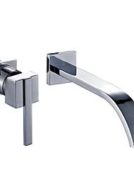 Недорогие -Ванная раковина кран - Настенное крепление Хром На стену Одной ручкой Два отверстияBath Taps