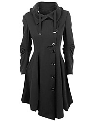 cheap -Women's Going out Simple Vintage Casual Street chic Winter Fall Plus Size Long Coat, Solid Peaked Lapel Cotton Polyester Ruffle Oversized