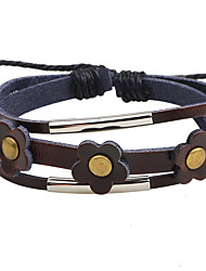 Men's Women's Leather Bracelet Handmade Adjustable Leather Round Flower Jewelry For Casual Going out