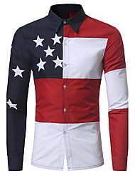 cheap -Men's Slim Shirt - Color Block Patchwork Spread Collar / Long Sleeve