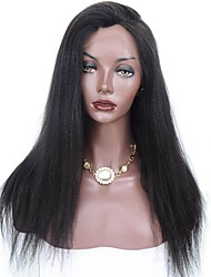 cheap -Human Hair Full Lace Wig Brazilian Hair Yaki 130% Density African American Wig Natural Hairline Short Medium Long Women's Human Hair Lace