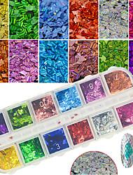 economico -La decorazione diy glisten del manicure di paillette della fetta del fiocco di arte del chiodo del chiodo dei sequins di scintillio 12colors / box