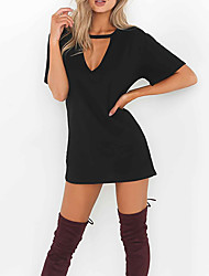 cheap -Women's Daily Going out Cute Sexy A Line Sheath Dress,Solid V Neck Above Knee Short Sleeves Cotton Winter Fall Mid Rise Micro-elastic