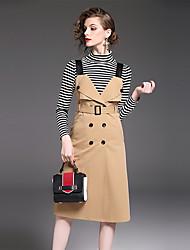 Manches Ajustées Jupe Costumes Femme,Rayé Décontracté / Quotidien Travail simple Automne Manches longues Col Roulé