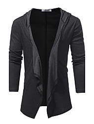 cheap -Men's Daily Going out Casual Active Long Cardigan,Solid Shirt Collar Long Sleeves Cashmere Wool Winter Fall Medium Micro-elastic