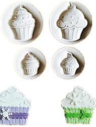 cheap -4PCS/Lot Ice Cream Shape Cookie Fondant Plastic Molds Embosser Mold Biscuits Mould Diy Cake Decoration