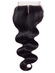 Недорогие -16inch 100g 4 * 4 бразильские remy волосы тела кружево закрытие 100% человеческих волос натуральная черная средняя часть